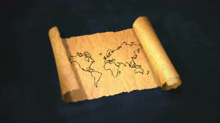 papyrus : World Map Drawing Unfolding Old Paper Scroll 3D 4K
