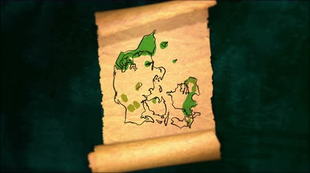 papyrus : Denmark Map Painting Unfolding Old Paper Scroll 3D 4K Stock Footage