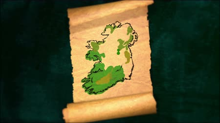 papyrus : Ireland Map Painting Unfolding Old Paper Scroll 3D 4K Stock Footage
