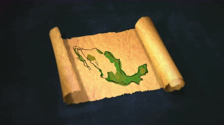 meksyk : Mexico Map Painting Unfolding Old Paper Scroll 3D 4K Wideo