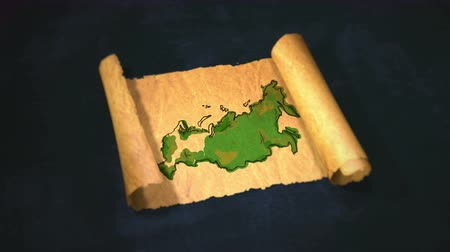 papyrus : Russia Map Painting Unfolding Old Paper Scroll 3D 4K