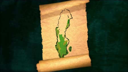 papyrus : Sweden Map Painting Unfolding Old Paper Scroll 3D 4K