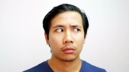 humor : Portrait Asian Face Doing Many Expression Stop Motion 4K Resolution Stock mozgókép