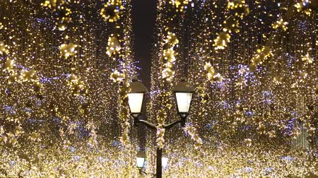 Nikolskaya street decorated for New Year and christmas with light glowing garlands Vídeos