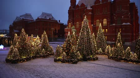 Moscow, Russia - January, 2018: Manezh square in Moscow city decorated for New Year and christmas