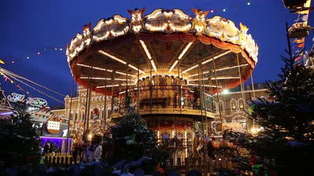 Moscow, Russia - January, 2018: Carousel at the Christmas fair in Moscow city Vídeos