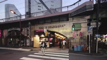 nostalgisch : Tokyo, Japan - August 25 2019: Yuraku Concourse under the Yurakucho station. There are noodle stalls and sake bars with old posters glued to the walls of tunnel.