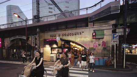 retro revival : Tokyo, Japan - August 25, 2019: Japanese pedestrians and foreign tourists crossing a red light.