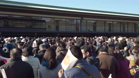their : Tokyo, Japan - January 02 2020: Video of people waiting for the appearance of the Emperor and Empress of Japan on the occasion of the New Year in the Imperial Palace of Tokyo.