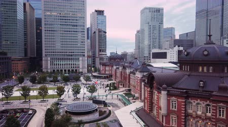 tokyo station : Aerial video of Marunouchi side of Tokyo railway station in the Chiyoda City, Tokyo, Japan.