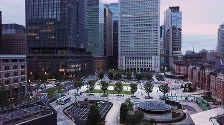 Aerial video of Marunouchi side of Tokyo railway station in the Chiyoda City, Tokyo, Japan.