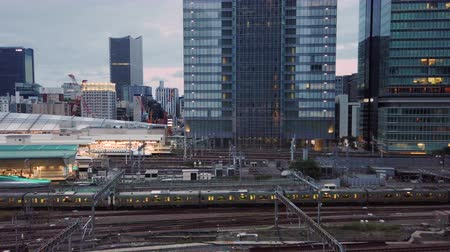 docked : Tokyo, Japan - October 06 2019: Video of high speed Japanese Shinkansen E7 and N777 trains docked in Tokyo railway station in the Chiyoda City, Tokyo, Japan.