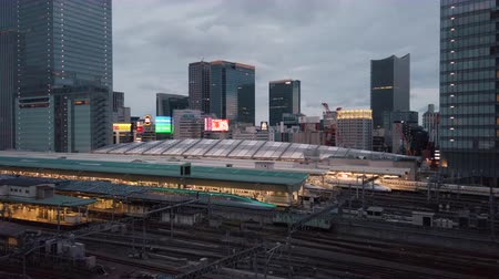 Video of high speed Japanese Shinkansen E7 and N777 trains docked in Tokyo railway station in the Chiyoda City, Tokyo, Japan.