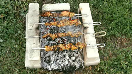 alevler : barbecue meat is fried on skewers with smoke