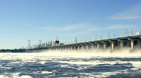 baraj : Reset of water at hydroelectric power station on the river