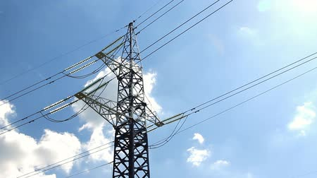 çerçeveler : High voltage tower and cables against blue sky