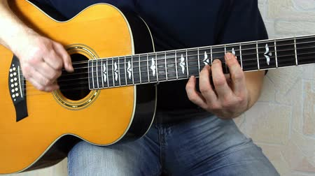 джаз : performer playing on the acoustic guitar. Musical instrument with guitarist hands