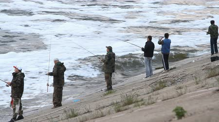 zander : Volgograd - May 03: People fishing on a river, River Volga, Volgograd, Russia. May 03.2014. Stock Footage