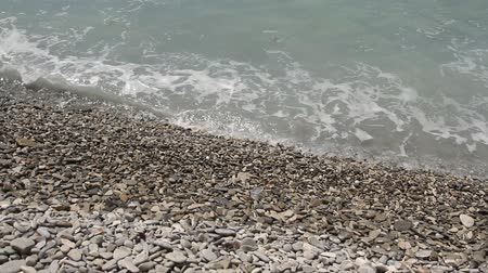 shoreline : beach waves most beautiful pebble Mediterranean Sea Stock Footage