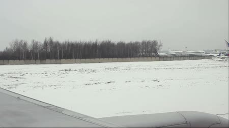 aerodrome : Moscow, Russian Federation - March 05, 2015: View from airplane to the Domodedovo International airport.