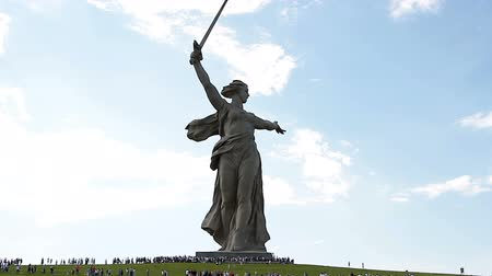 mamaev : VOLGOGRAD, Russian Federation - MAY 9, 2016: Mass visits visitors of the memorial complex Mamaev Kurgan on the anniversary of victory in great world war II.