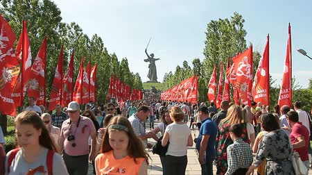 mamaev : Volgograd, Russian Federation - May, 09, 2016: People crowd rises on Mamayev Kurgan