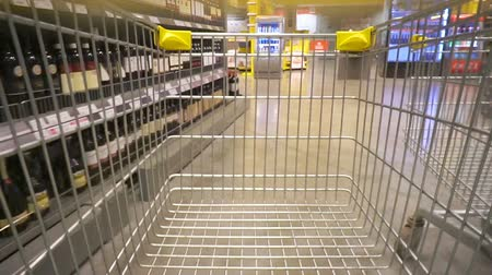 Строки : Volgograd, Russian Federation – February 05, 2017: Shopping concept in supermarket for fast consumer lifestyle