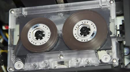 cassette : vintage audio cassette tape with a blank white label