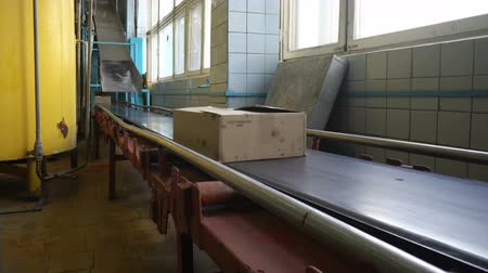 распределение : Cardboard boxes on conveyor belt in factory