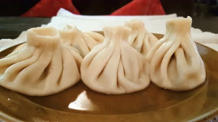 pelmeni : Five hot tasty aroma khinkali in the plate