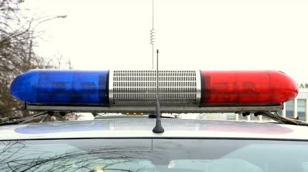 police department : Police blue and red lamp flashing spinning Stock Footage