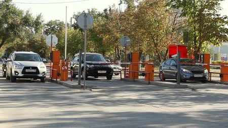 auto parking : Volgograd, Russian Federation - September 27, 2015: Automatic security barrier at the parking Stock Footage
