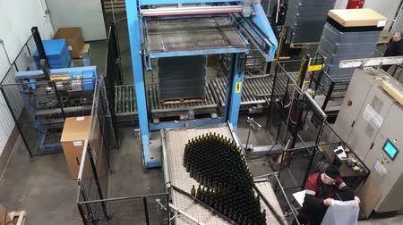 palety : Sennoy, Russian Federation – February 14, 2018: Feeding bottles to the conveyor for further bottling of wine