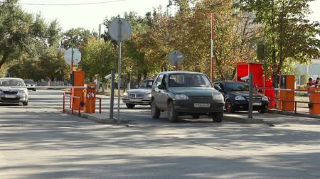 boundary : Volgograd, Russian Federation - September 27, 2015: Automatic security barrier at the parking Stock Footage
