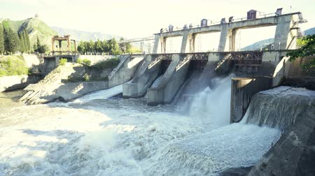 voltů : Reset of water at hydroelectric power station on the river