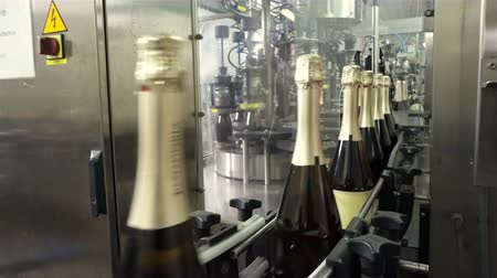 champagne bottles : Sennoy, Russian Federation – February 15, 2018: The line for filling and sealing the conveyor in a factory of champagne Stock Footage
