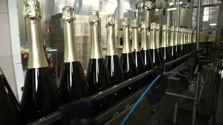 champagne bottles : Sennoy, Russian Federation – February 15, 2018: Bottling and sealing conveyor line at winery factory Stock Footage