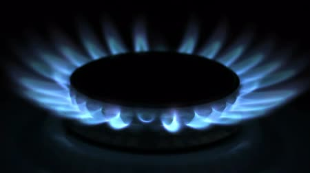 gas hob : Gas stove in the dark