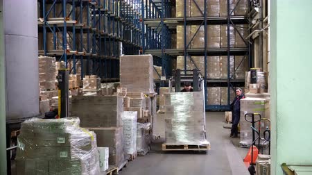 unload : Sennoy, Russian Federation – February 14, 2018: Work of forklifts on loading pallets with cardboard boxes on racks in a modern warehouse Stock Footage