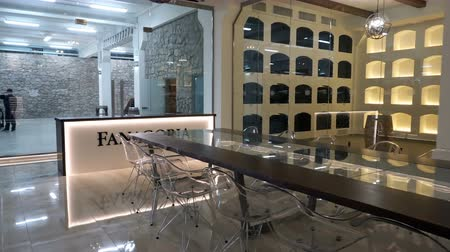 cognac : Sennoy, Russian Federation – February 14, 2018: The interior of the tasting room winery Fanagoria
