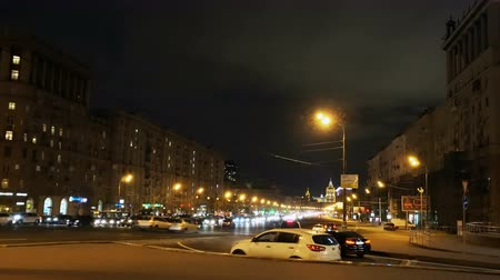 prospect : Moscow, Russian Federation - October 20, 2017: Automotive traffic, large traffic jams in  rush hour at Kutuzovsky avenue
