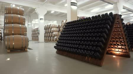 pince : Sennoy, Russian Federation – February 14, 2018: stacked of old wine bottles in the cellar