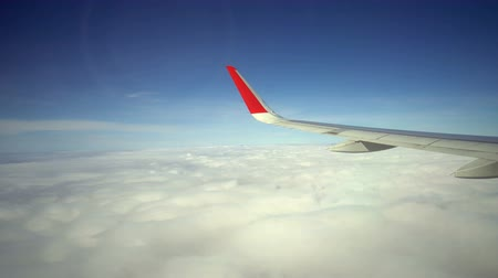 stratosfer : View on the Wing of airplane from window
