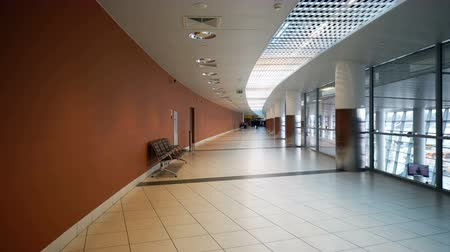 üres : Moscow, Russian Federation – March 16, 2017: Empty contemporary hallway of airport Stock mozgókép