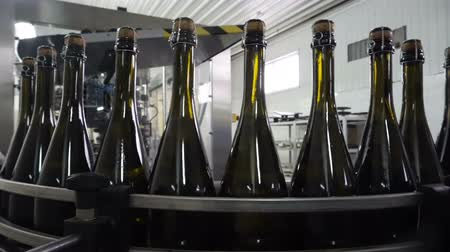 champagne bottles : Bottling and sealing conveyor line at winery factory Stock Footage