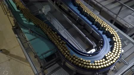drink cans : Modern conveyor for beer bottling machine Stock Footage