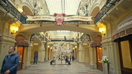 Moscow, Russian Federation - March 17, 2017: Inside view of famous GUM biggest department store near the red Square Stok Video