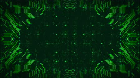 Green Hi-Tech Circuit Board Background. Computer Generated Seamless Loop Abstract Animation. Vídeos