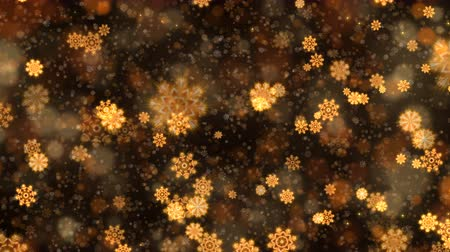 Gold abstract Christmas snowflakes background. Computer generated seamless loop animation.