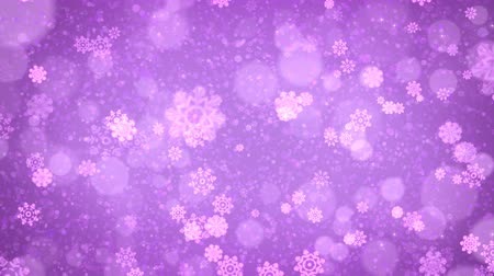 Purple abstract Christmas snowflakes background. Computer generated seamless loop animation.